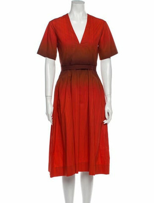 Narciso Rodriguez V-Neck Midi Length Dress w/ Tags Red