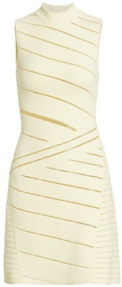 Herve Leger Cutout Mockneck Mini Dress