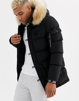 SikSilk puffer parka jacket with faux fur hood in black