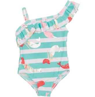 MINOTI Baby Girls Unicorn Swimsuit Green