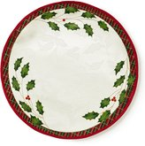 Lenox Holiday Nouveau Plaid-Trimmed Holly Leaf Round Metallic Jacquard Placemat