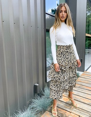 And other stories & sunflower print tiered linen midi skirt in black