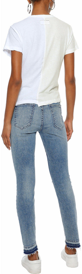 Thumbnail for your product : Current/Elliott Stiletto Cropped Distressed Mid-rise Skinny Jeans
