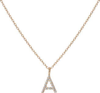 AUrate New York Mini Letter Charm Pendant with White Diamonds