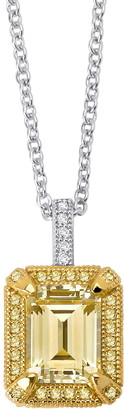 Lafonn Platinum Plated Sterling Silver Simulated Diamond Canary & White Necklace