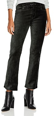 Paige Claudine Velvet Double Button Flare Leg Ankle Jeans in Dark Spruce