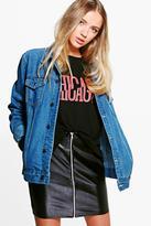 boohoo Janie Oversize Denim Jacket denim-blue
