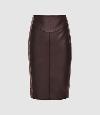 Reiss Megan - Leather Pencil Skirt in Berry