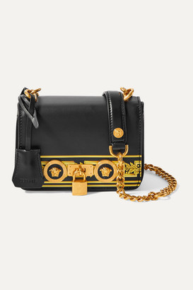 Versace Embellished Printed Leather Shoulder Bag - Black