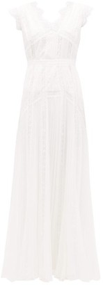 Self-Portrait V-neck Lace-panel Pleated Chiffon Dress - Womens - White
