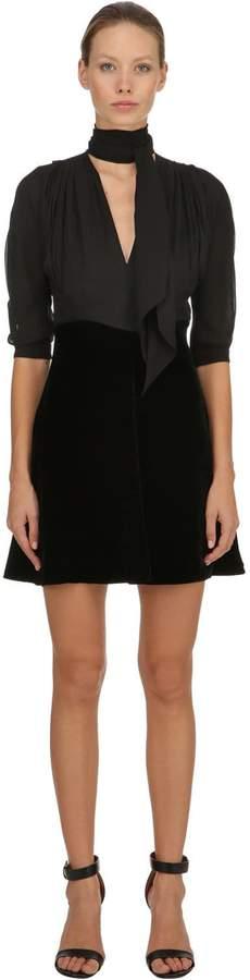Miu Miu Velvet & Silk Georgette Mini Dress