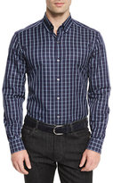 Ermenegildo Zegna Windowpane Long-Sleeve Sport Shirt, Navy