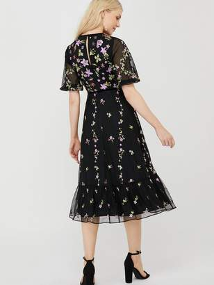 Monsoon Emma Embroidered Polyester Midi Dress - Black