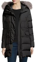 Moncler Fragonette Quilted Puffer Coat w/Detachable Fur Hood, Black