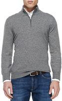 Brunello Cucinelli 2-Ply Cashmere Half-Zip Pullover, Grey