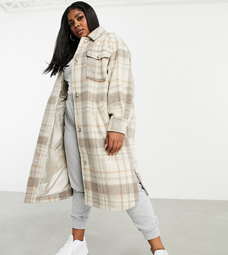 ASOS DESIGN Curve longline shacket in check