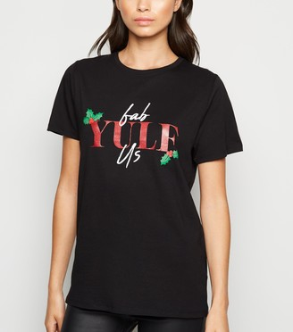 New Look Glitter Fab Yule Us Christmas Slogan T-Shirt