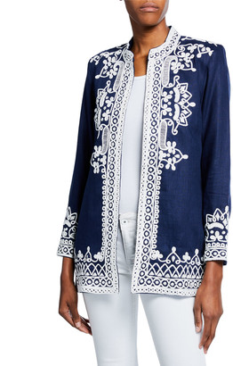 Bella Tu Ceci Embroidered Mandarin Collar Open-Front Jacket