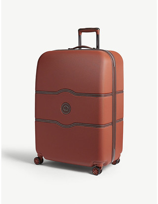 Delsey Terracotta Stripe Orange Chatelet Hard Four Wheel Suitcase, Size: 77cm