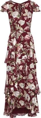 Alice + Olivia Jenny Tiered Floral-print Fil Coupe Chiffon Maxi Dress