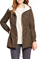 Steve Madden Glacier Shield Mini Quilt Anorak With Faux Fur Collar