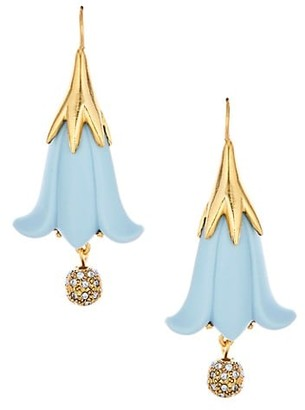 Oscar de la Renta Resin Flower Crystal Ball Drop Earrings