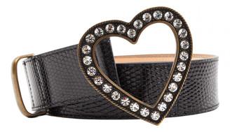 Alessandra Rich Black Lizard Belts