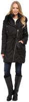 Via Spiga Hooded Chevron Belted Down Coat w/ Faux Fur