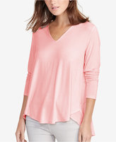 Lauren Ralph Lauren Georgette-Back V-Neck Shirt