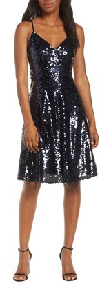 Vince Camuto Sequin Fit & Flare Party Dress