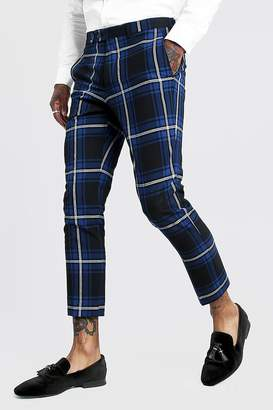 boohoo Large Scale Tartan Smart Cropped Trouser