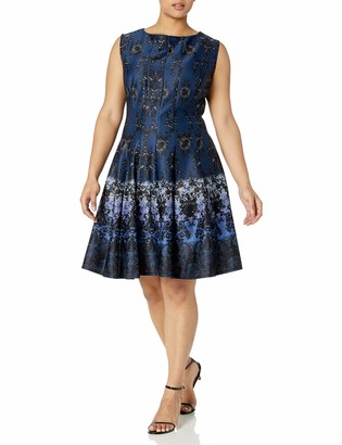 Gabby Skye Women's Plus Size Cap Sleeve Round Neck Chandelier Print Fit and Flare Dress