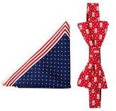 Alara Silk American Flag Bow Tie & Pocket Square Set