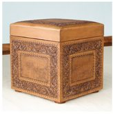 Novica Golden Colonial Ivy Decorator Accent Brown and Tan Hand Tooled Leather with Padded Top Cube Storage Ottoman (Peru)