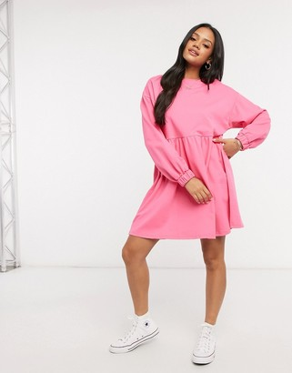 ASOS DESIGN mini sweat smock dress in bright pink