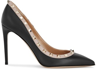 Valentino Garavani Rockstud 100 Black Leather Pumps