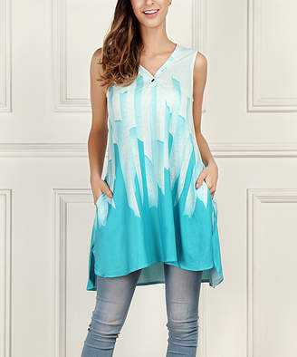 Reborn Collection Women's Tunics Aqua - Aqua Abstract V-Neck Sleeveless Tunic - Women & Plus
