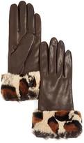 Bloomingdale's Cashmere-Lined Leopard Print Rabbit Fur Gloves