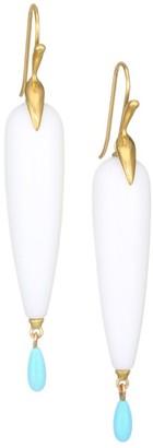 Annette Ferdinandsen Fauna 18K Yellow Gold, Agate & Turquoise Drop Earrings