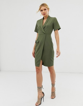 Closet London wrap front midi dress with pocket detail in khaki-Green