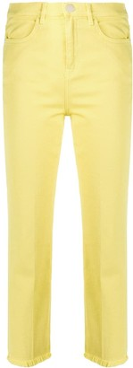 Pinko Cropped Frayed-Hem Jeans