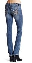 Miss Me Rhinestone Embroidered Pocket Straight Leg Jean