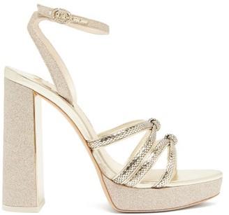 Sophia Webster Freya Leather And Glitter Platform Sandals - Gold