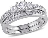 0.51ctw Diamond Engagement Ring and Wedding Band 14K White Gold 2-piece Set