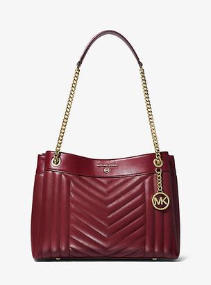 MICHAEL Michael Kors MK Susan Medium Quilted Leather Shoulder Bag - Dk Berry - Michael Kors
