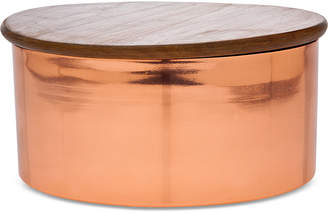 """Godinger 8"""" Copper Canister with Wood Lid"""