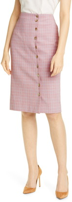 Tailored by Rebecca Taylor Rose Plaid Pencil Skirt