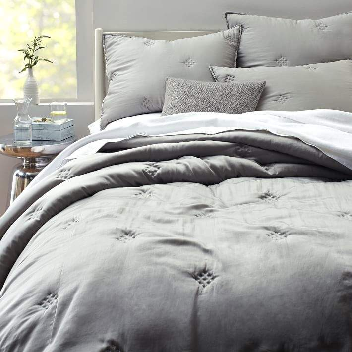west elm Washed Silk Quilt - Platinum