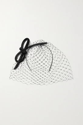 Philip Treacy Crystal-embellished Mesh And Glittered Velvet Fascinator - Black
