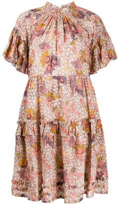 Ulla Johnson Floral Print Ruffle Trim Dress